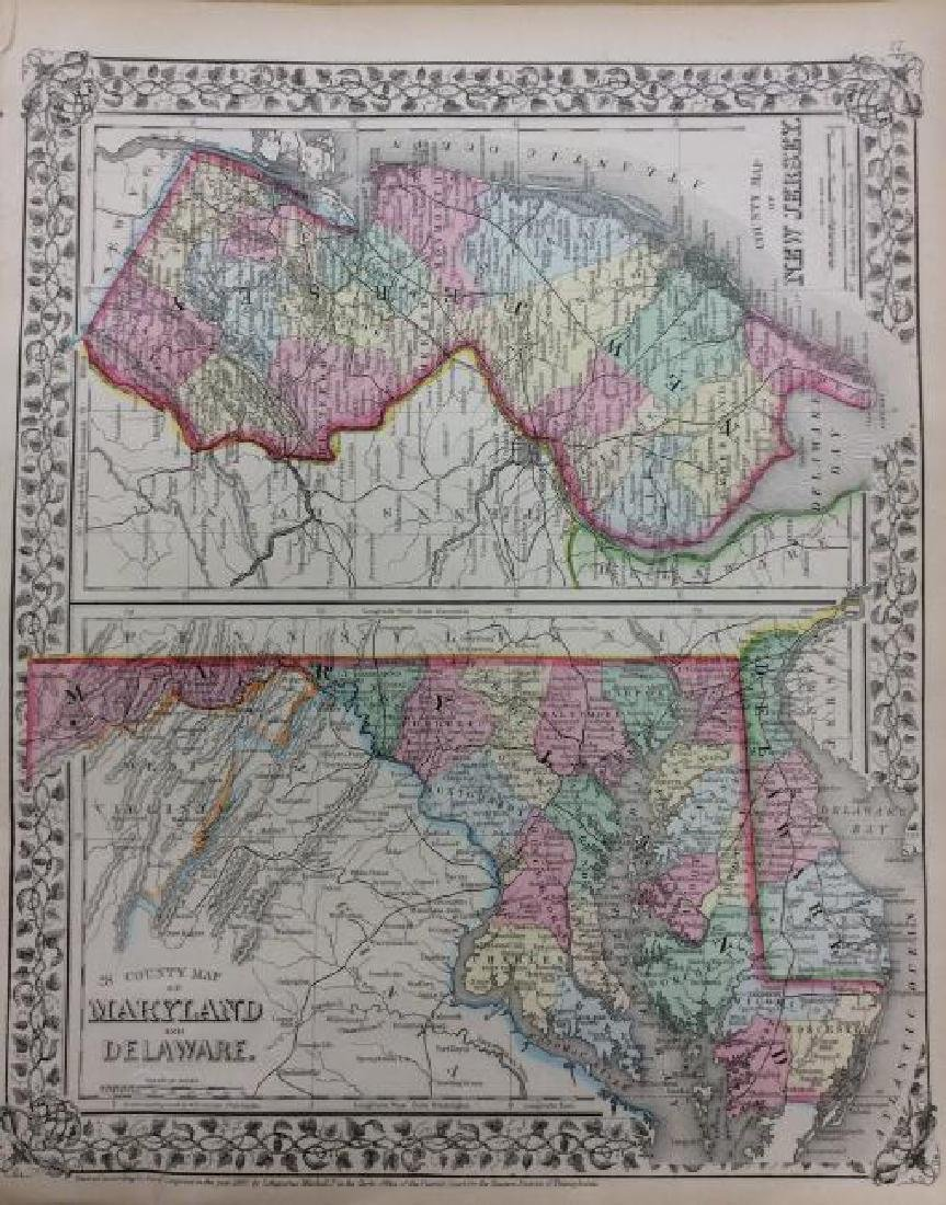 Mitchell: Antique Map of New Jersey Maryland Delaware