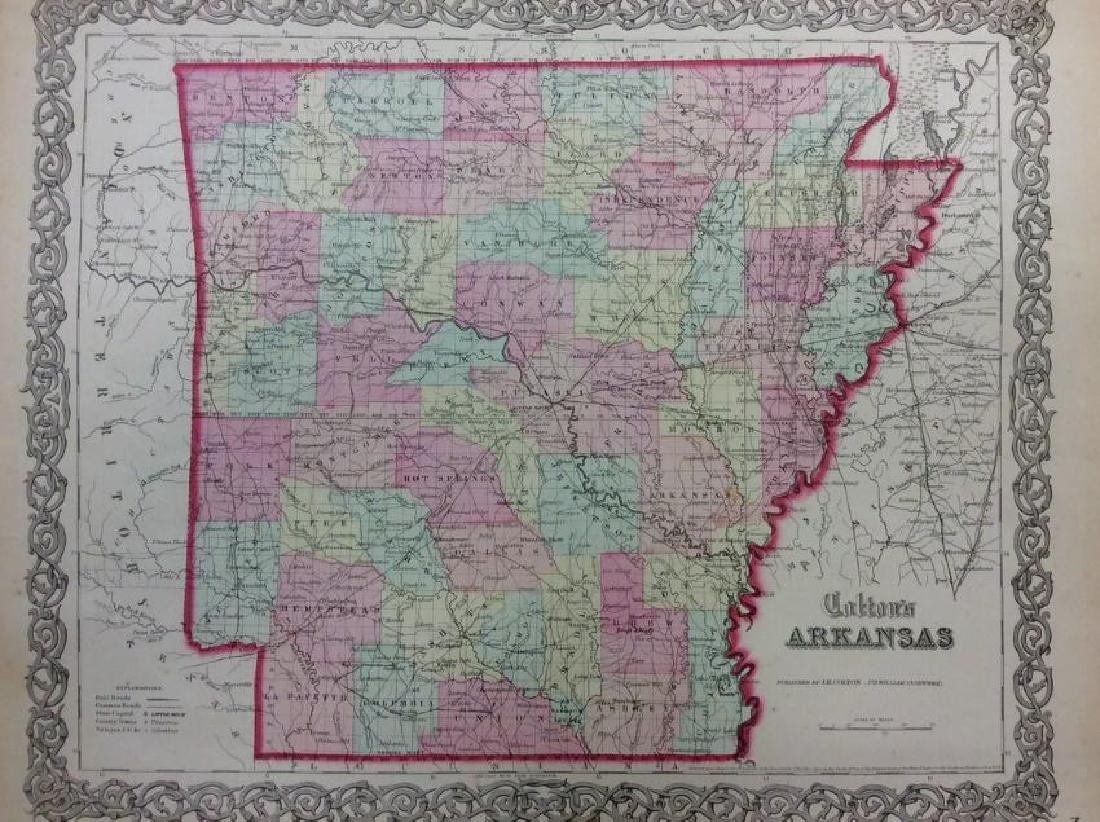Colton: Antique Map of Arkansas, 1861