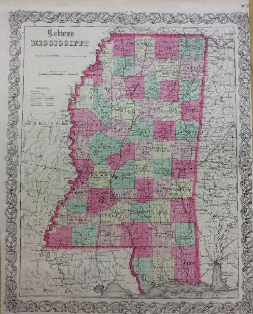 Colton: Antique Map of Mississippi, 1871