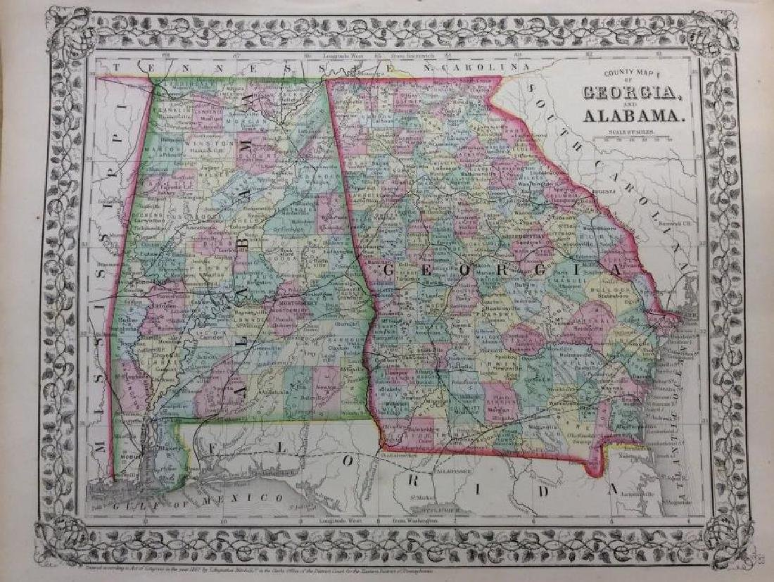 Mitchell: Antique Map of Georgia & Alabama, 1869