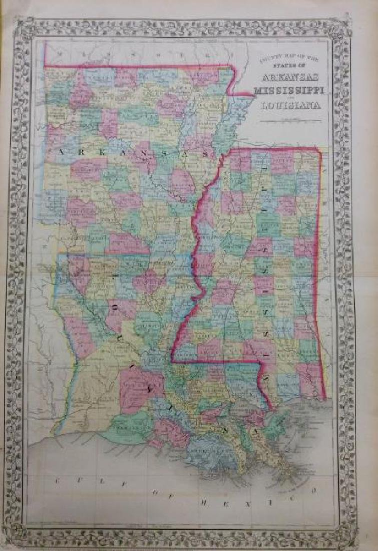 Mitchell: Antique Map of Mississippi Louisiana, 1869