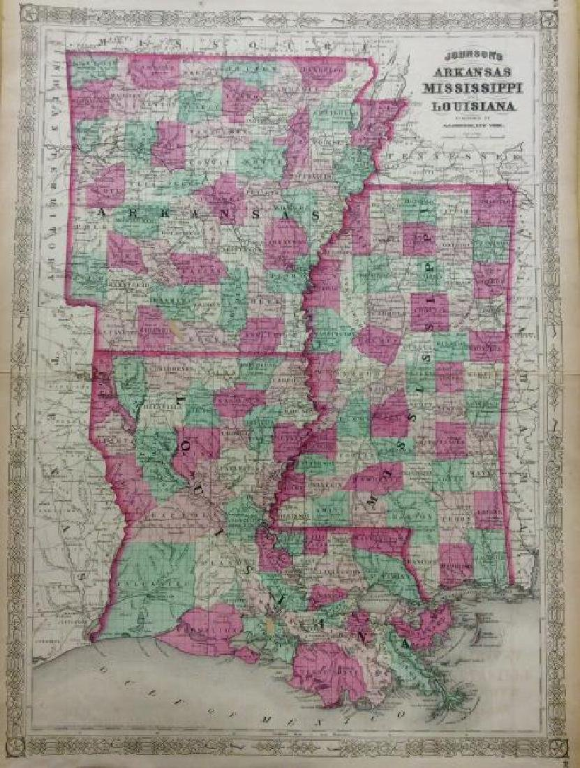 Johnson: Antique Map of Arkansas & Louisiana, 1868