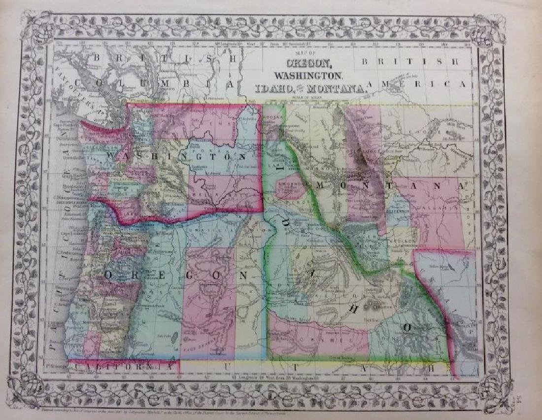 Mitchell: Antique Map of Northwest US, 1869