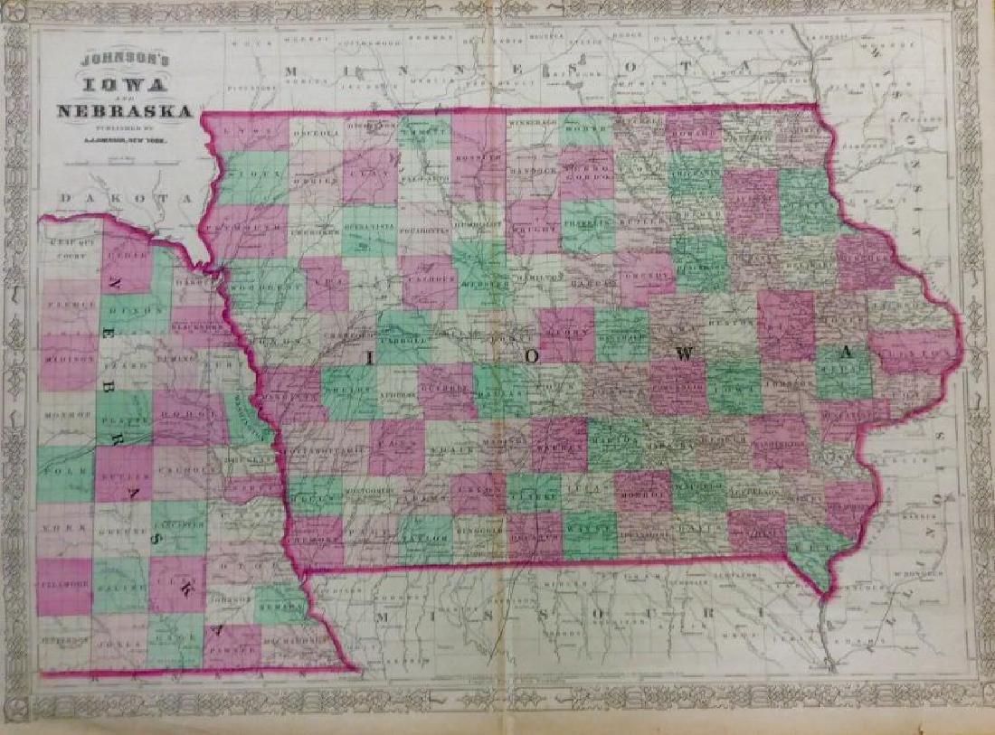 Johnson: Antique Map of Iowa & Nebraska, 1868