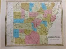 Bradford Antique Map of Arkansas 1838