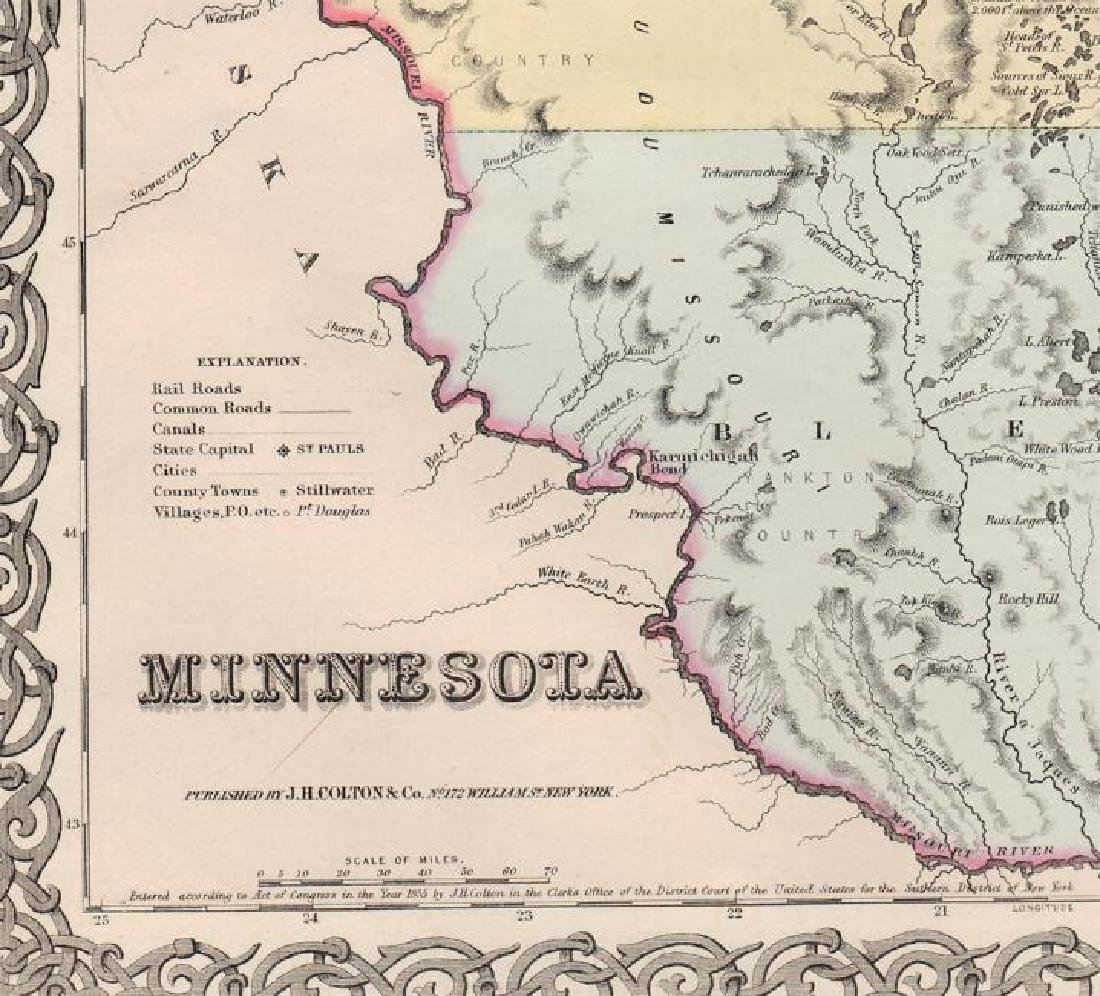 Colton: Antique Map of Minnesota, 1855 - 2
