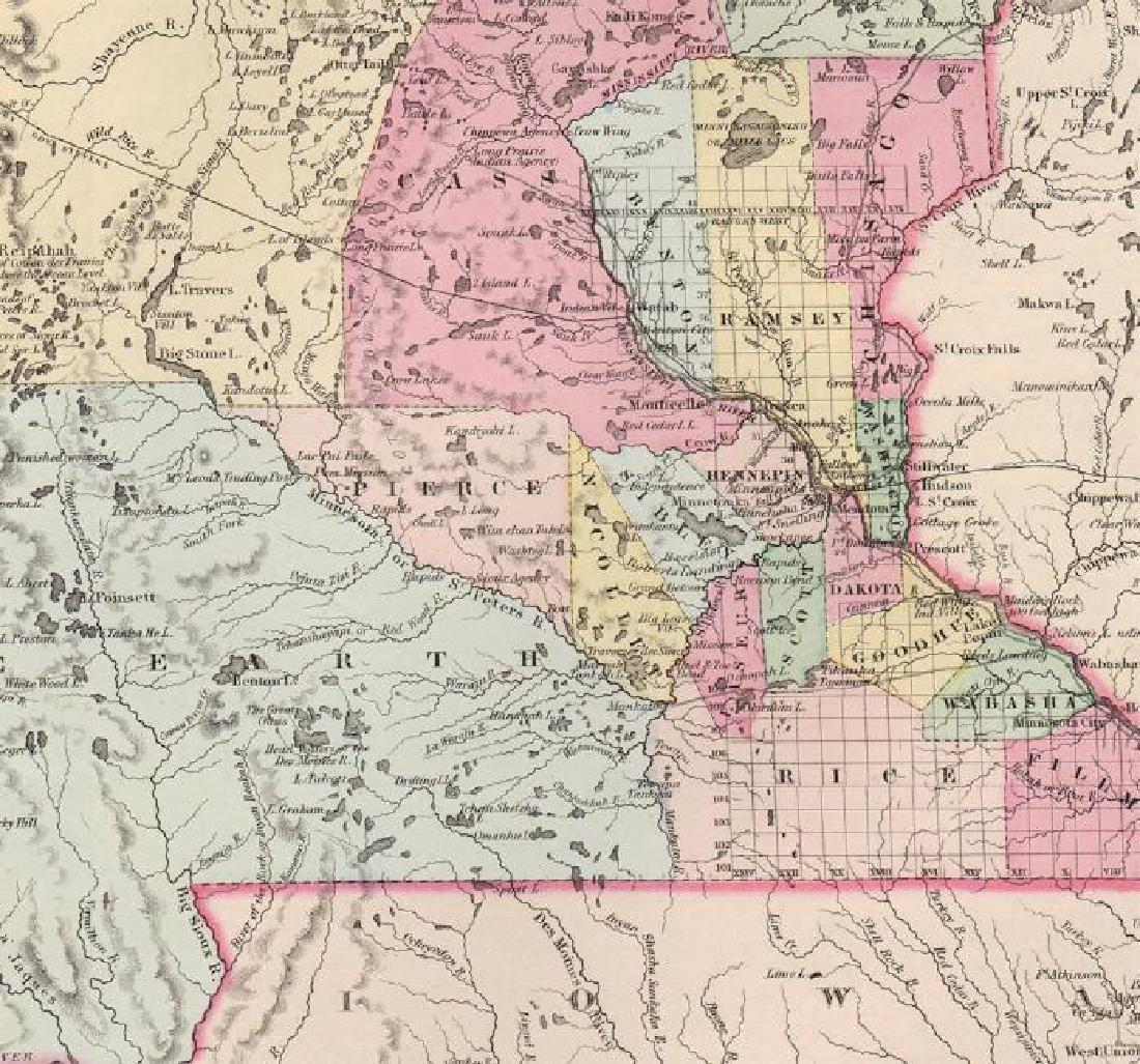 Colton: Antique Map of Minnesota, 1855 - 3