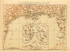 Wells: Antique Civil War Era Map of Gulf of Mexico 1863