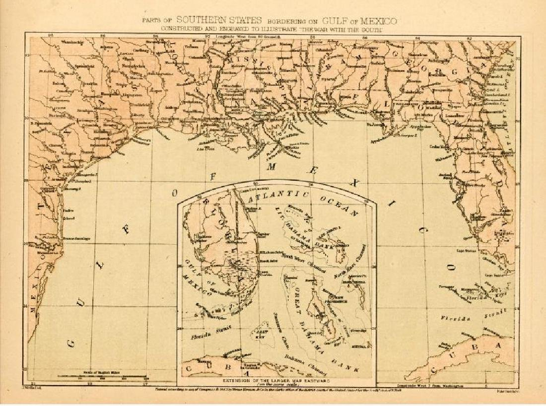 Wells: Antique Civil War Era Map of Gulf of Mexico 1863