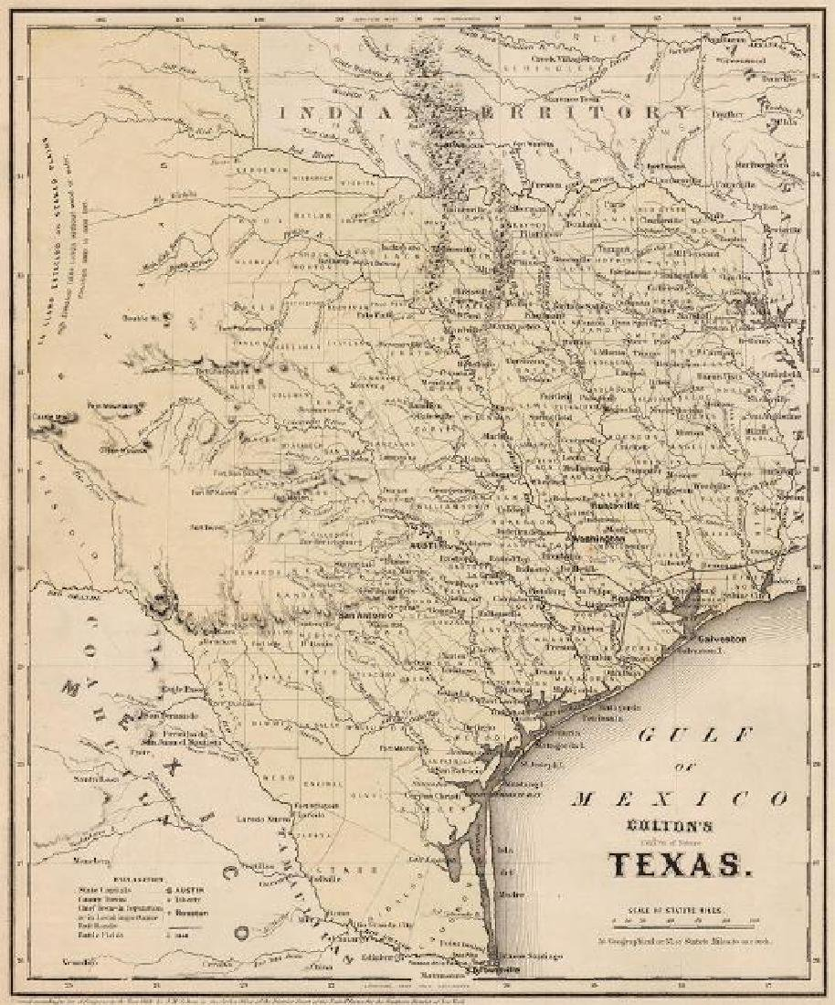 Colton: Antique Map of Texas, 1864