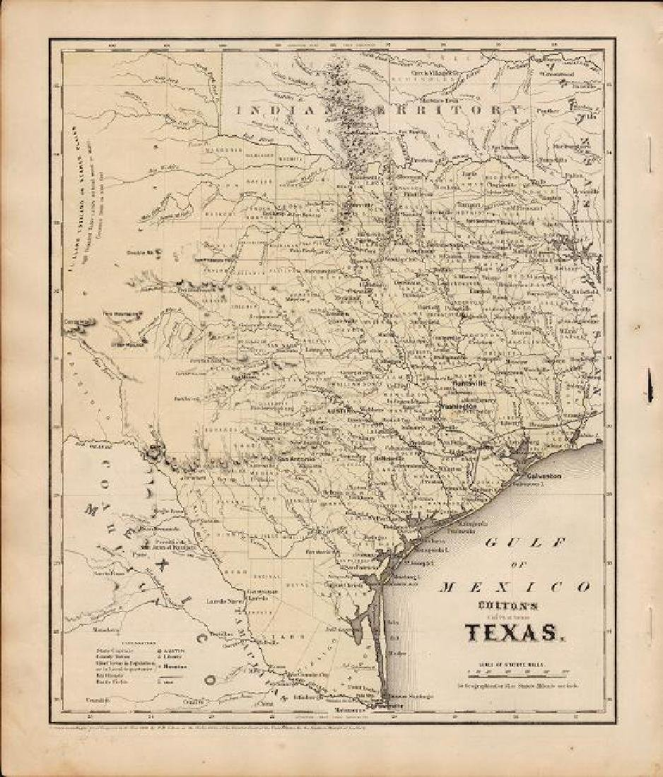 Colton: Antique Map of Texas, 1864 - 4
