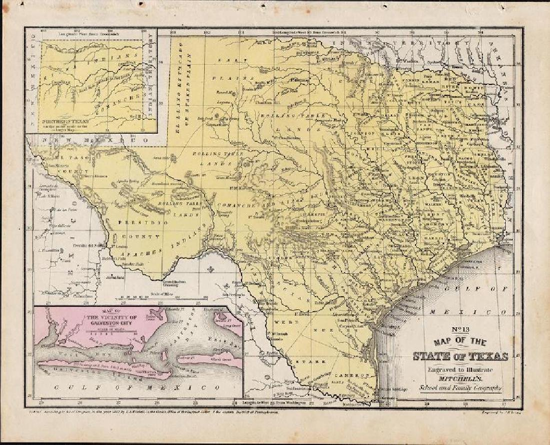 Cowperthwait/Desilver: Antique Map of Texas, 1852