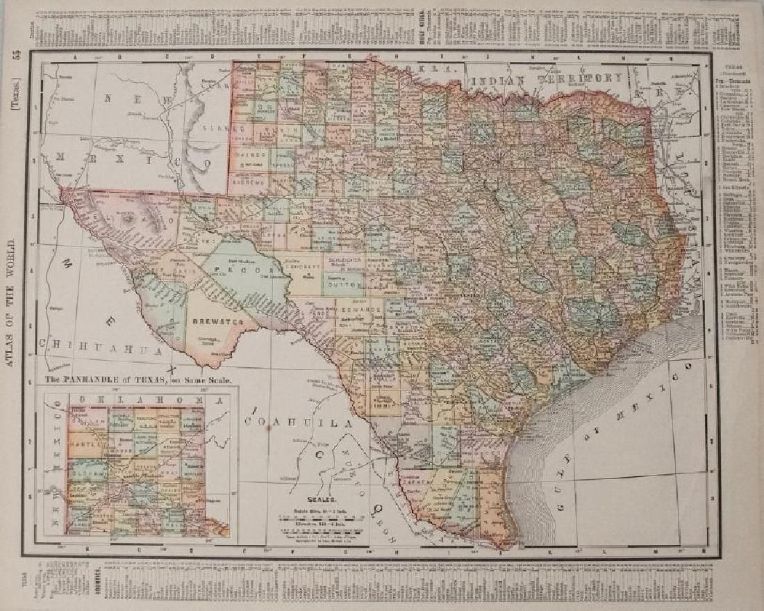 Rand McNally: Antique Map Texas, Indian Territory, 1895
