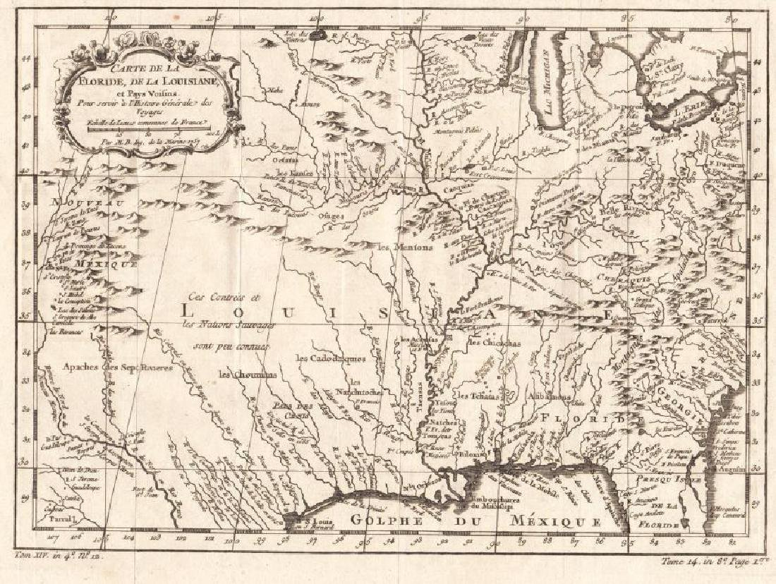 Bellin: Antique Map of Florida and Louisiana, 1757