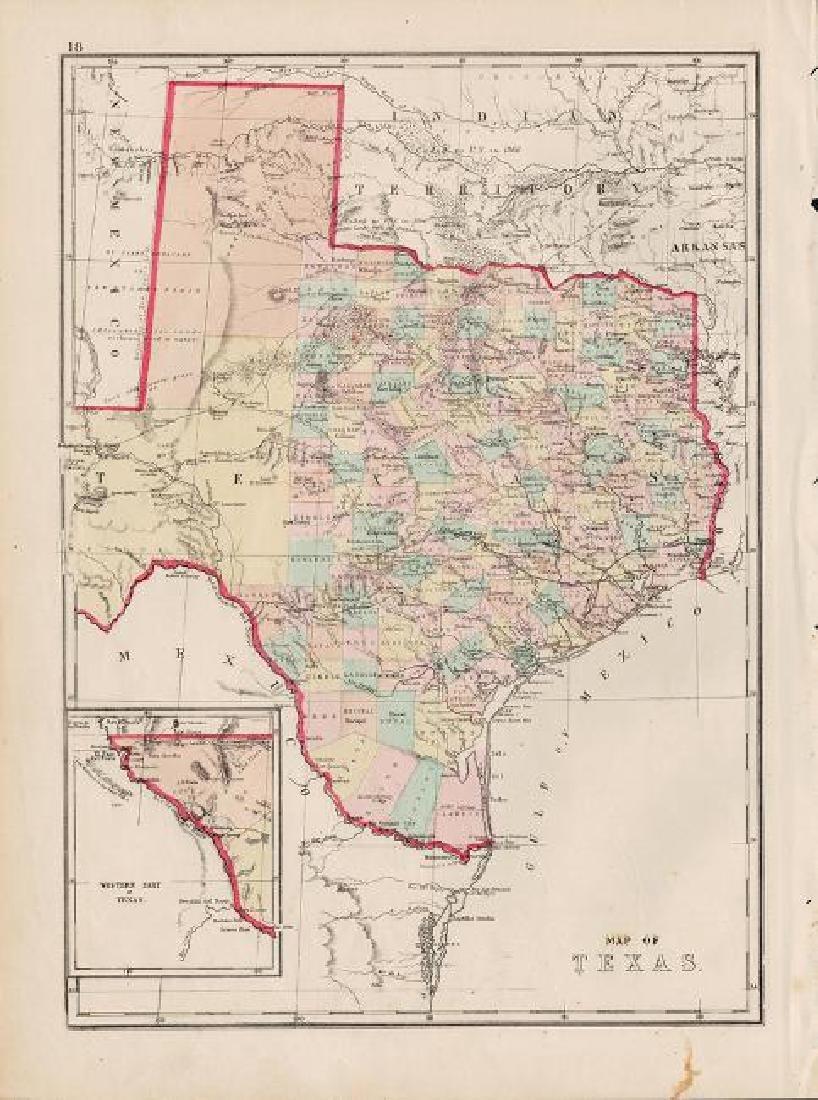 Hardesty: Antique Map of Texas, 1875