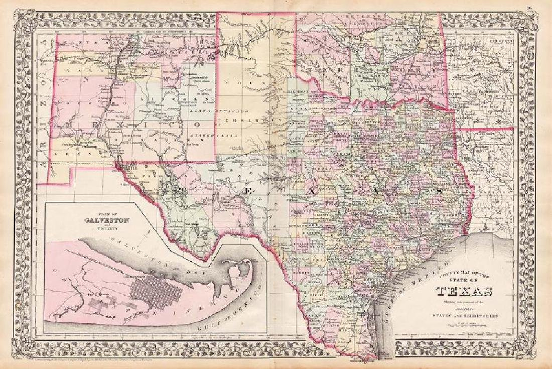 Mitchell: Antique County Map of Texas, 1873