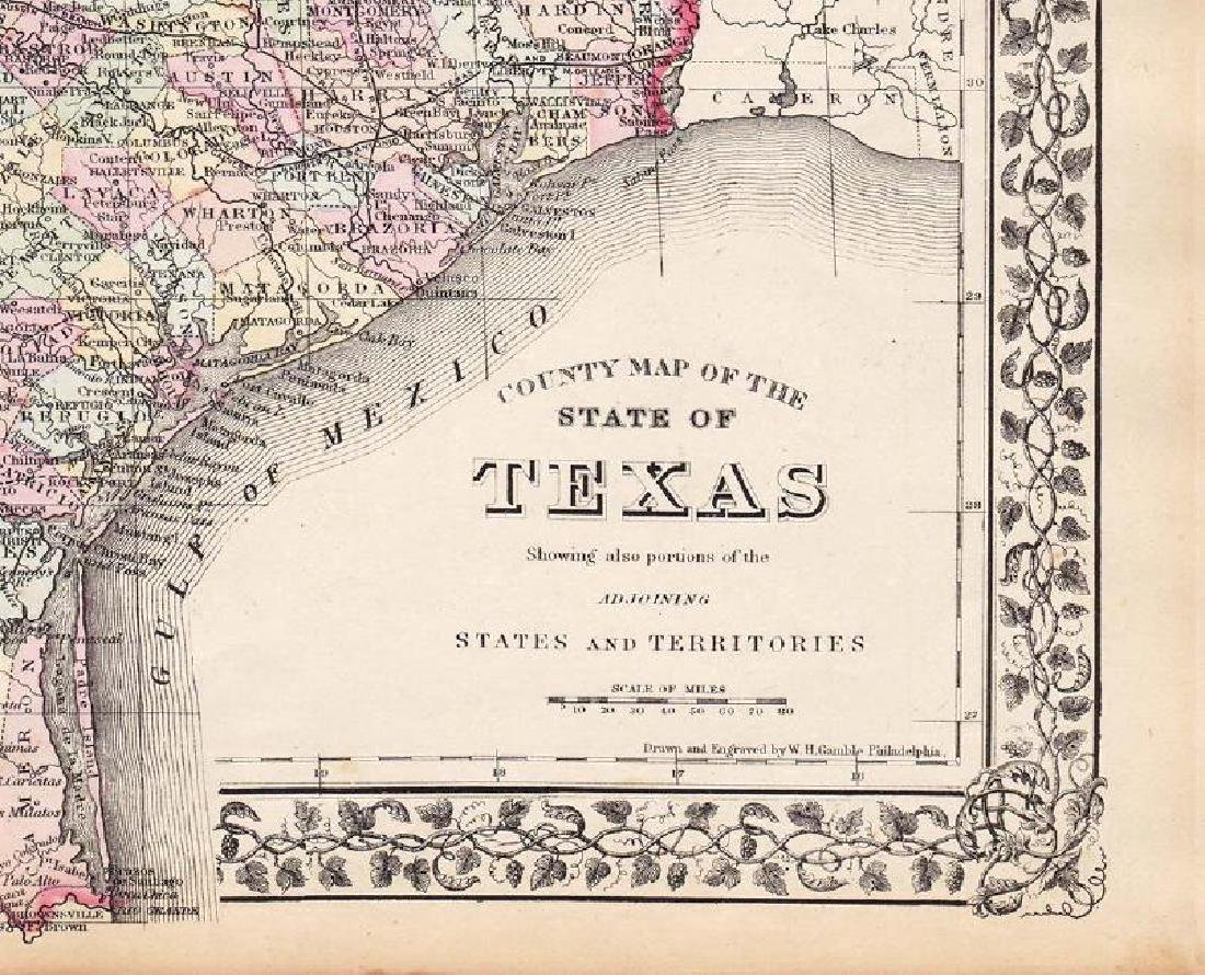 Mitchell: Antique County Map of Texas, 1873 - 2
