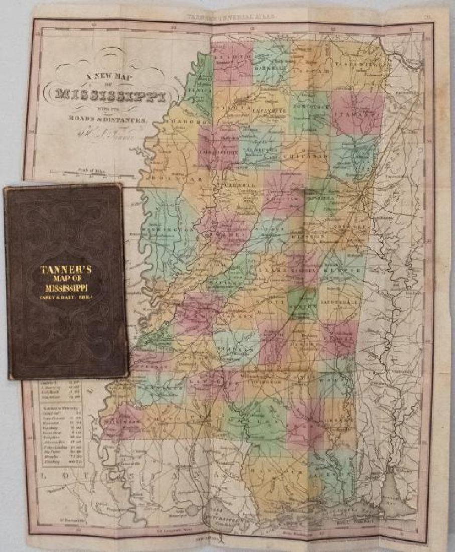 Tanner: Antique Pocket Map of Mississippi, 1836