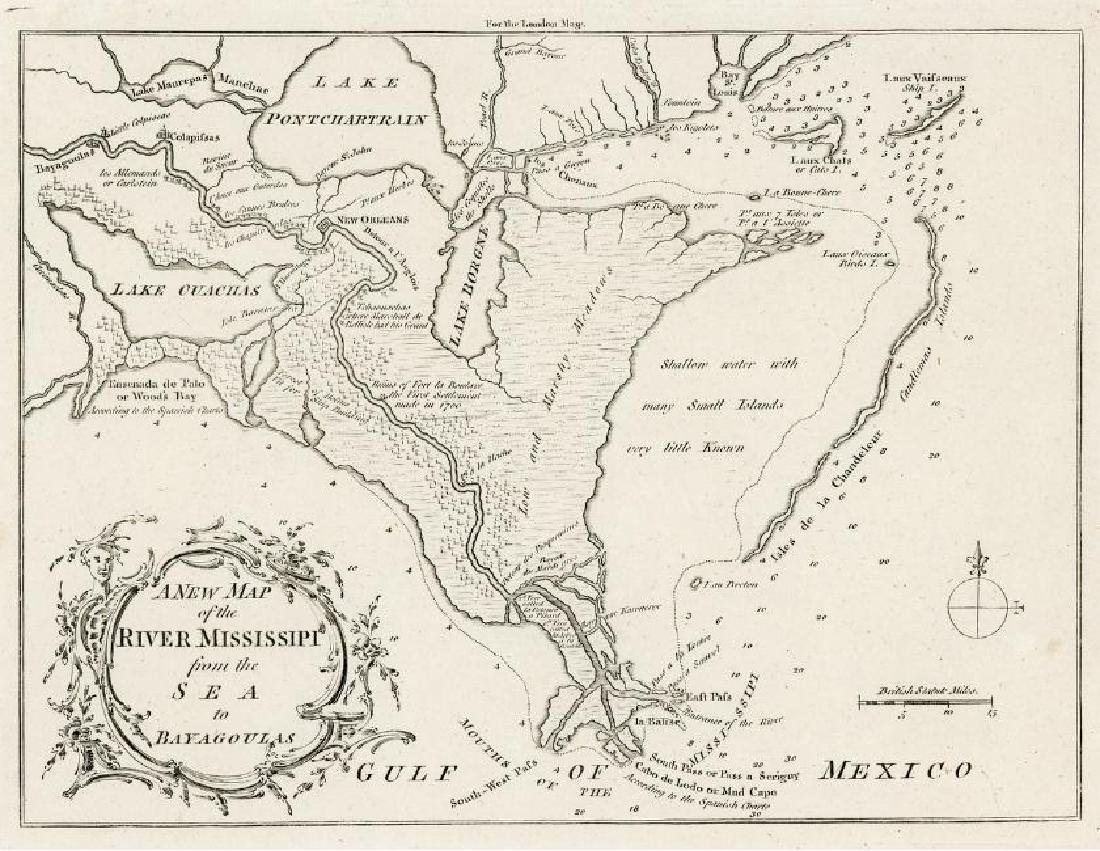 Antique Map of Louisiana and Mississipi River, 1761