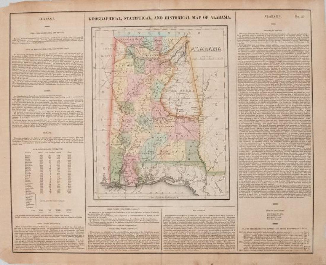 Carey & Lea: Antique Geographical Map of Alabama, 1827