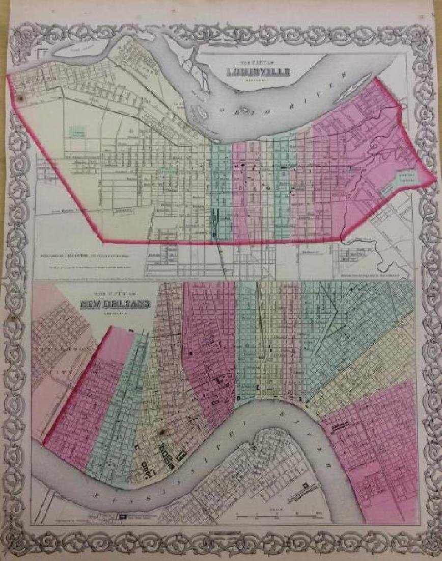 Colton: Antique Map of Louisville & New Orleans, 1861