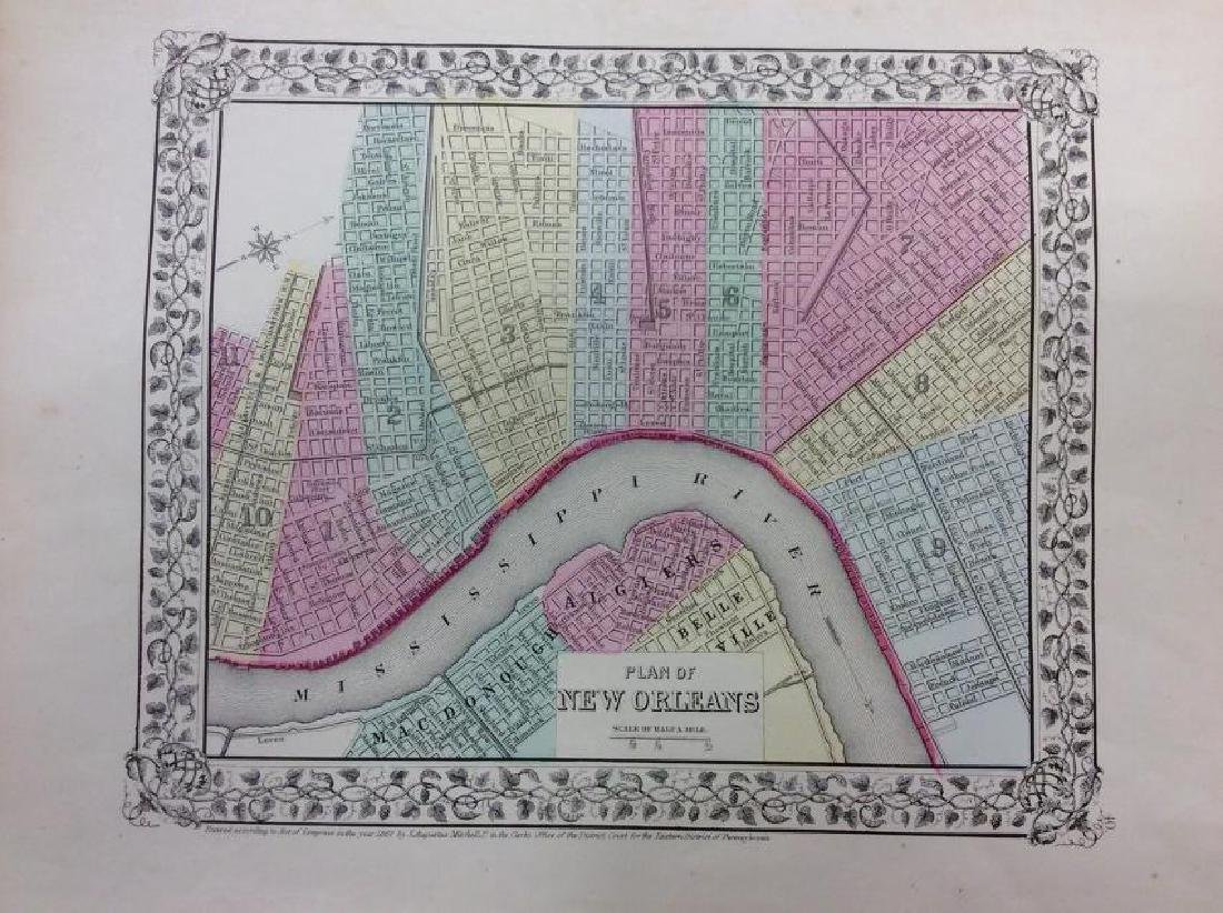 Mitchell: Antique Map of New Orleans, 1869