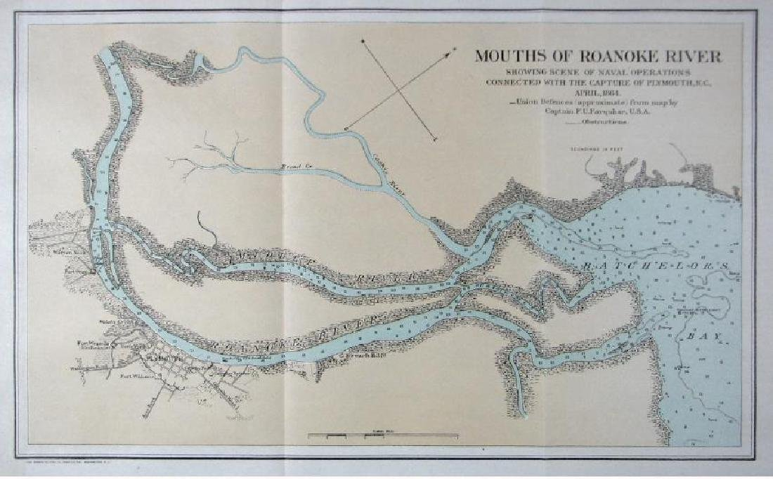 U.S. Navy: Antique Map Mouth of Roanoke River. 1881