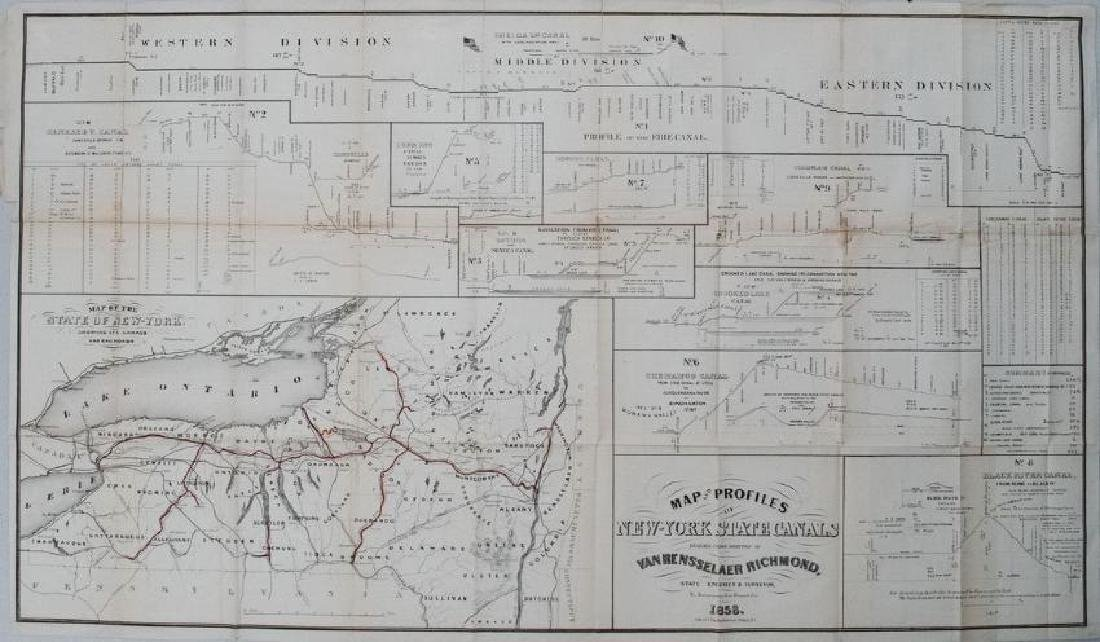 Richmond: Antique Map of New York State Canals, 1858