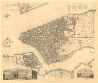 SDUK: Antique Map City Plan of New York City, 1847