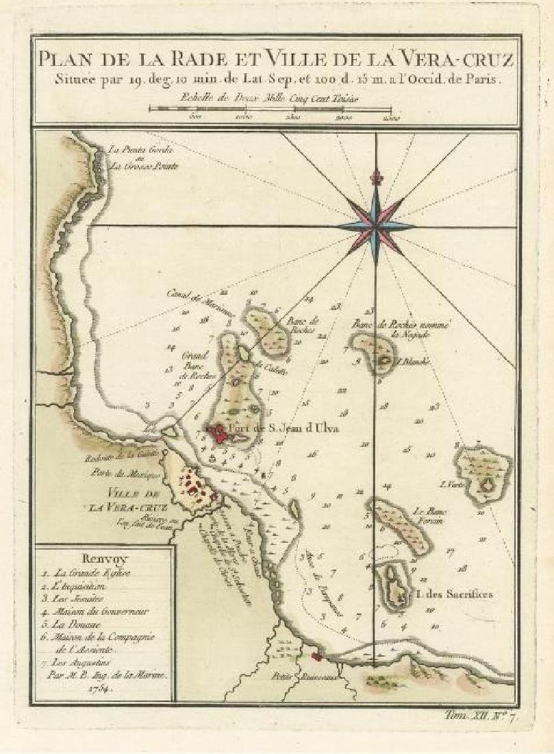 Bellin: Antique Map Plan of Veracruz, Mexico, 1754