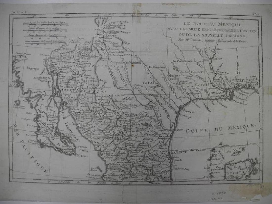 Bonne: Antique Map of Northern Mexico, 1790