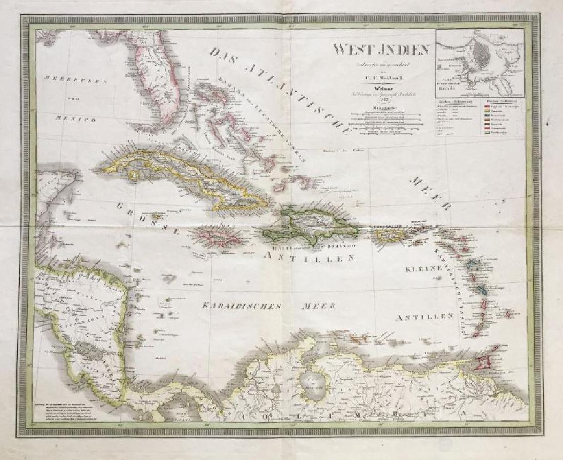 Weiland: Antique Map of Caribbean, Havana Inset, 1837