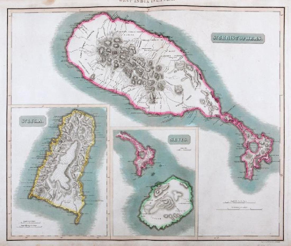 Thomson: Antique Map of St Kits, St Lucia, Nevis, 1816