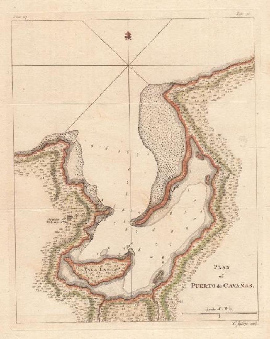 Jefferys: Antique Plan of Puerto Cabanas, Cuba, 1762