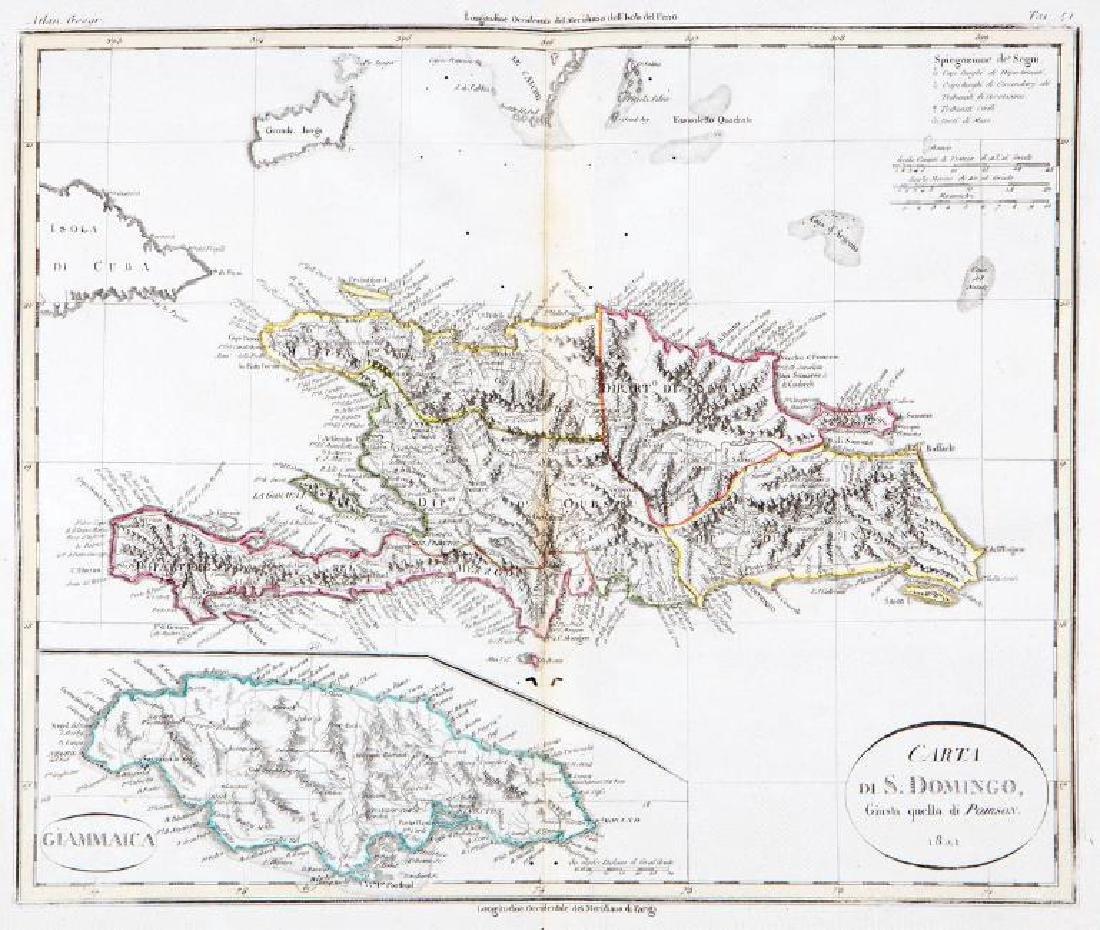 Rossi / Poirson: Antique Map of Santo Domingo, 1821