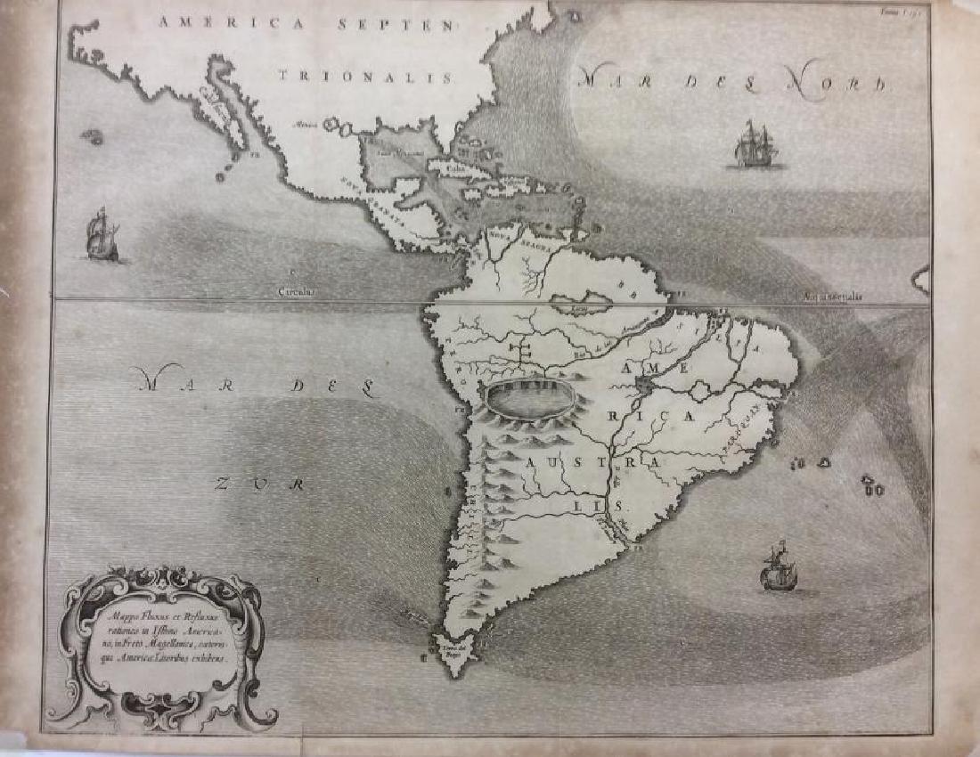 Kircher: Antique Map of Ocean Currents, 1665