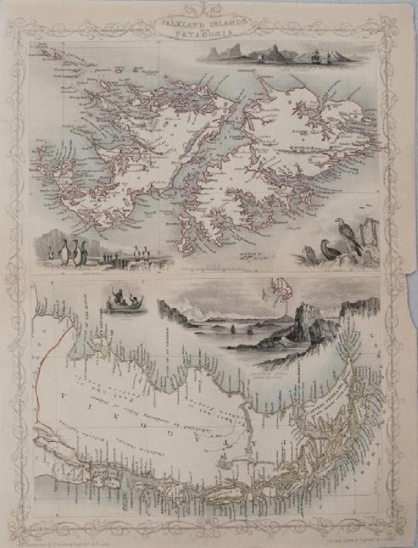 Tallis: Antique Map Falkland Islands & Patagonia, 1851