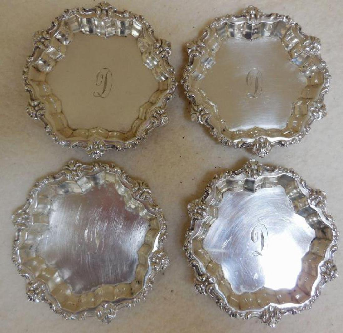 Set of 4 Whiting Sterling Silver Butter Pats - 2