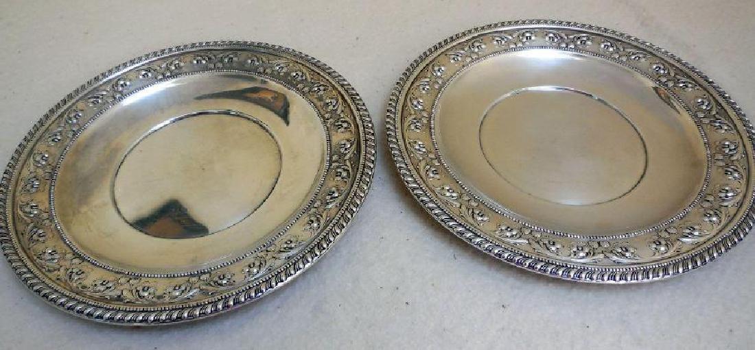 Set of 2 Vintage Sterling Silver Serving Plates - 2