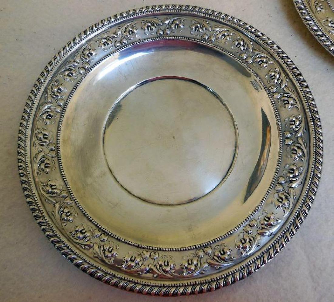 Set of 2 Vintage Sterling Silver Serving Plates - 3