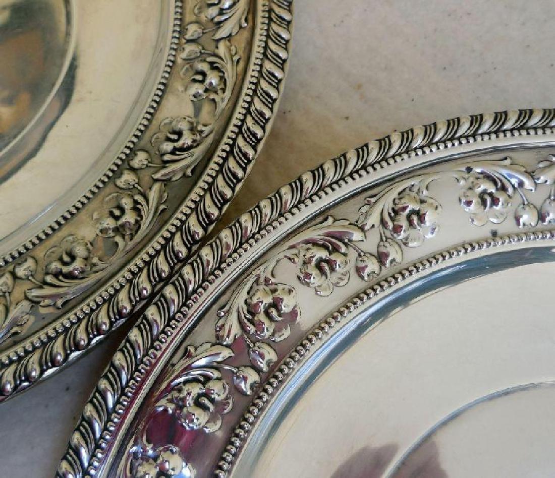 Set of 2 Vintage Sterling Silver Serving Plates - 5