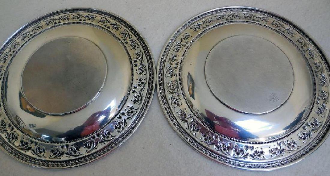 Set of 2 Vintage Sterling Silver Serving Plates - 6