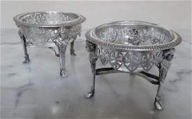 Pair Antique French Sterling Silver Salt Cellars 18th C