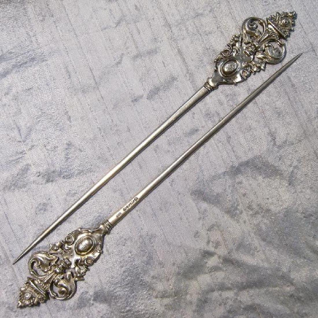 Antique English Sterling Silver Figural Meat Skewers