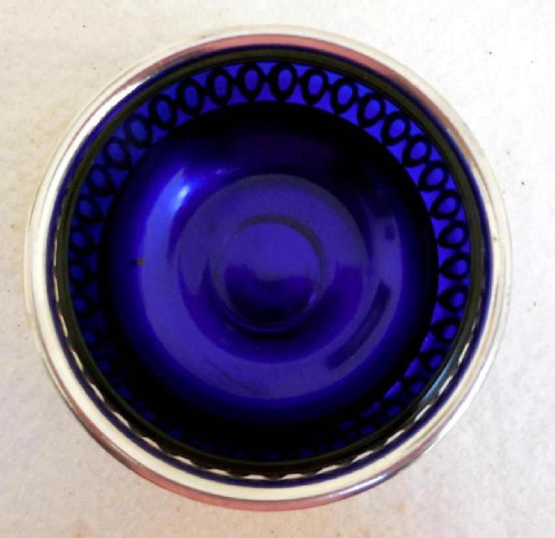 Vintage English Open Work Silverplate Cobalt Glass Bowl - 3