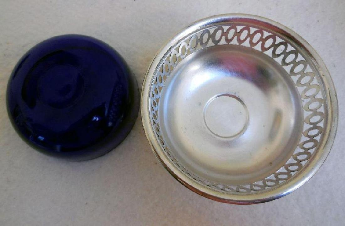 Vintage English Open Work Silverplate Cobalt Glass Bowl - 4
