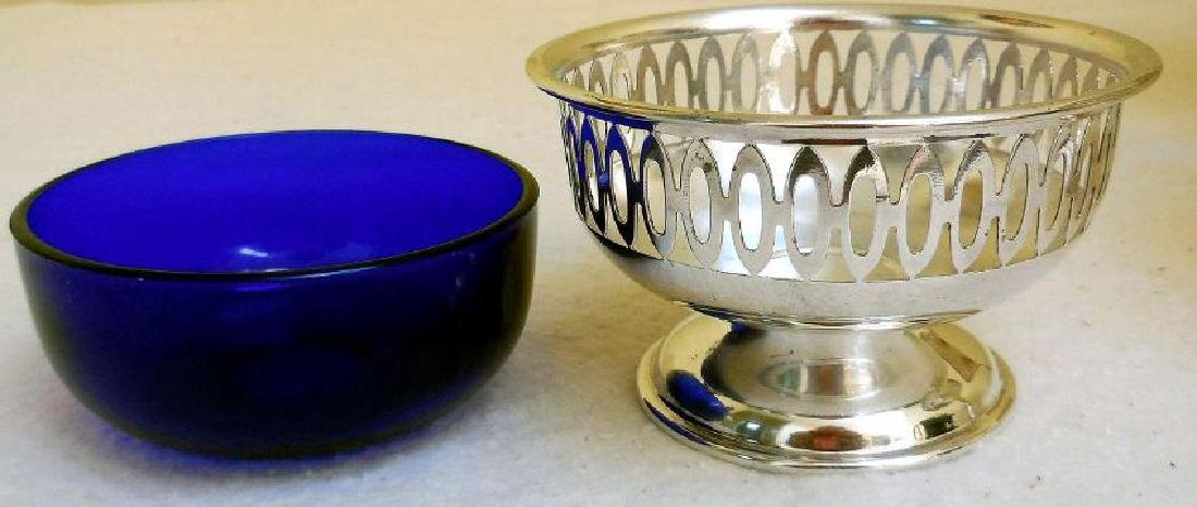Vintage English Open Work Silverplate Cobalt Glass Bowl - 5