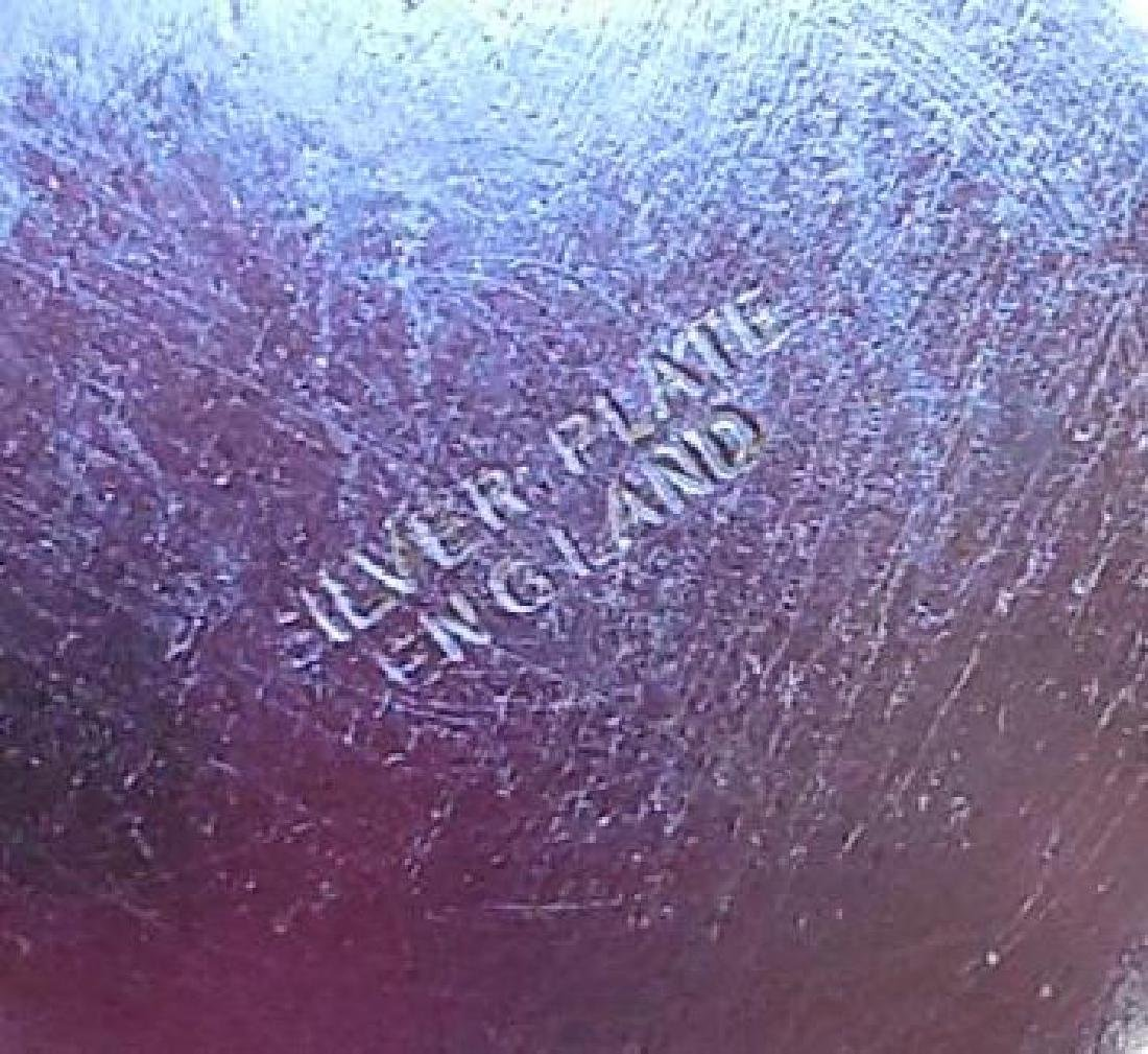 Vintage English Open Work Silverplate Cobalt Glass Bowl - 6
