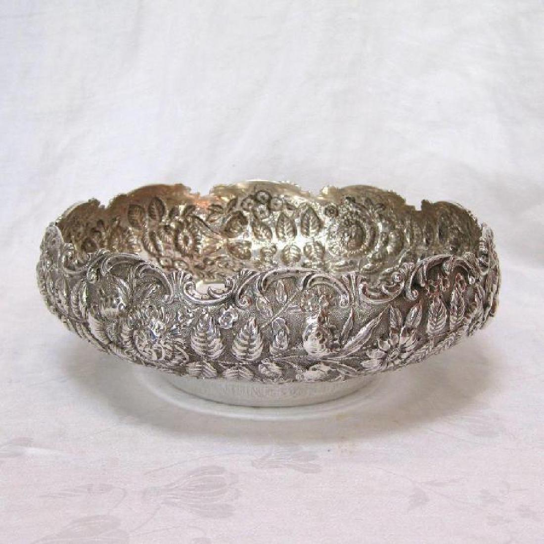 Antique Kirk & Son Sterling Silver Floral Repousse Bowl