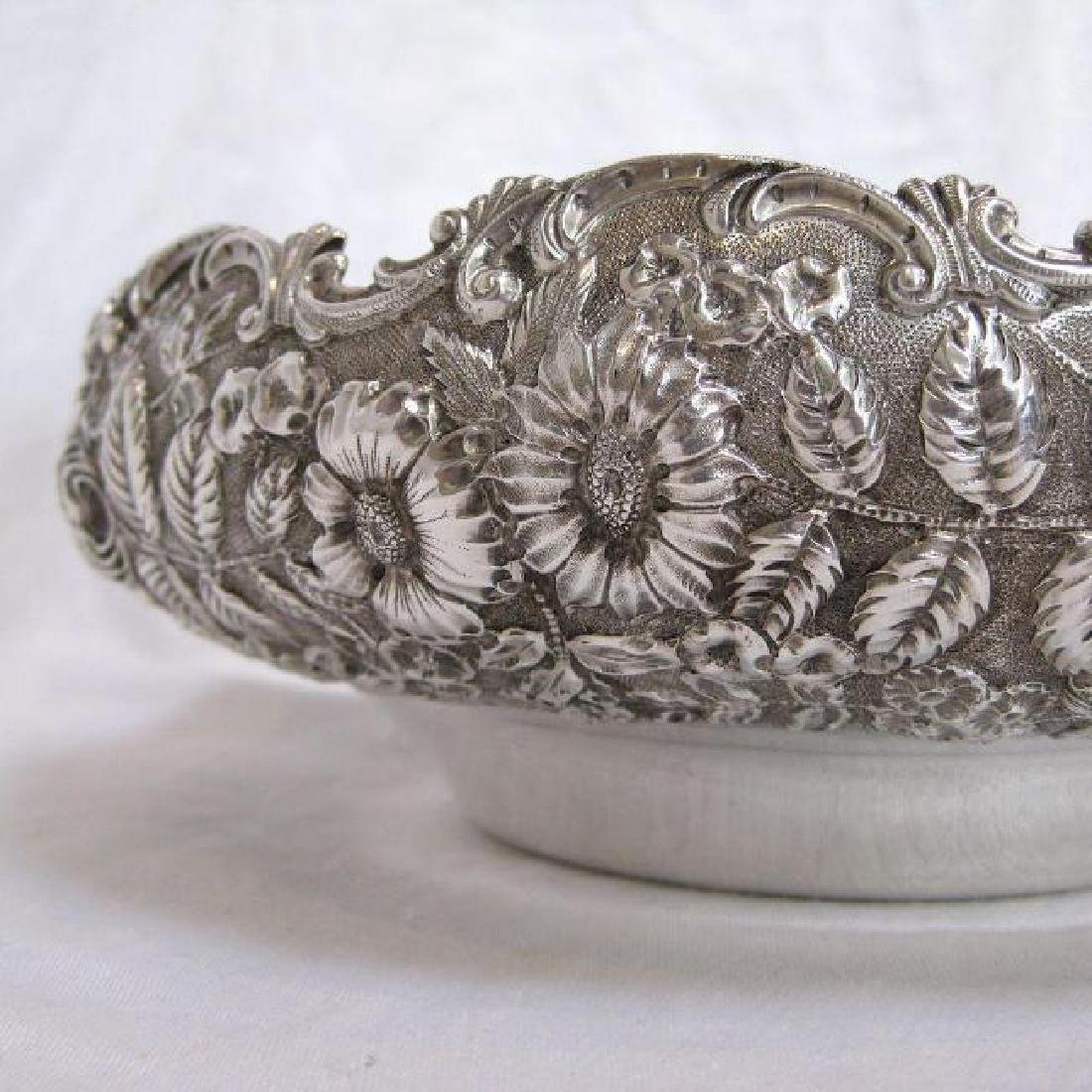 Antique Kirk & Son Sterling Silver Floral Repousse Bowl - 3
